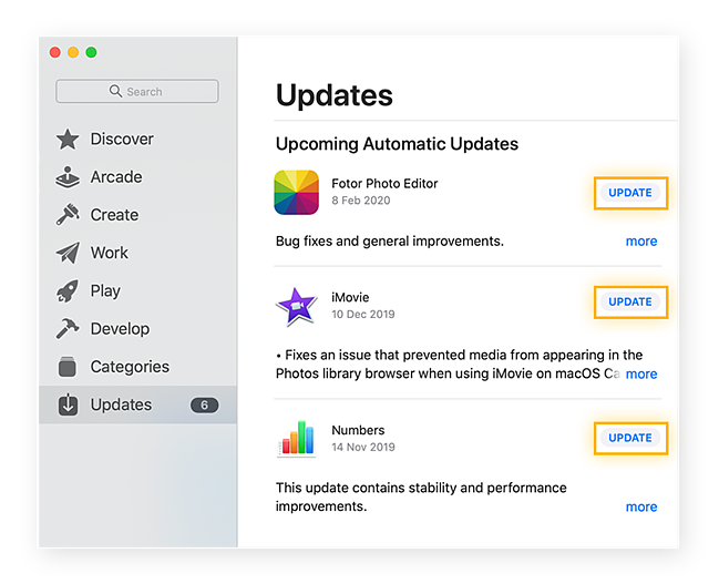 Checking for upcoming app updates in the Mac App Store.