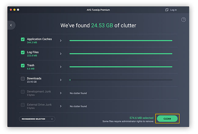 AVG TuneUp will track down clutter from application caches, log files, trash, and more.