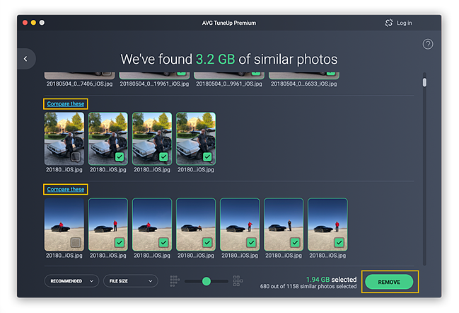 AVG TuneUp shows you all your duplicate and blurry photos so you can delete them.