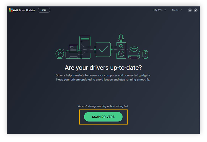 Scanning for outdated drivers with AVG Driver Updater for Windows 10