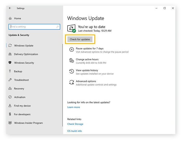 Checking for software updates using Windows Update in Windows 10