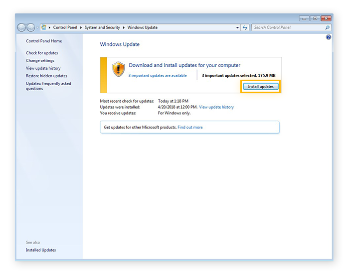 Installing updates with Windows Update for Windows 7