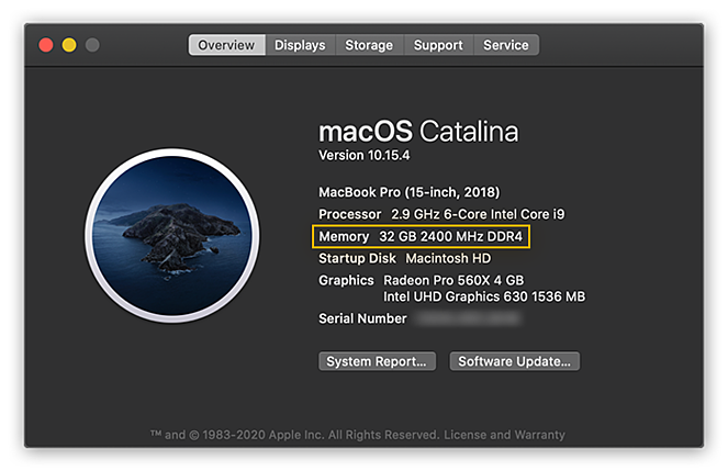 "Viewing system information in macOS Catalina inside the Overview tab of the ""About This Mac"" menu"
