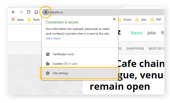 Access Site Settings right from your browser when using Chrome pop up blocker.