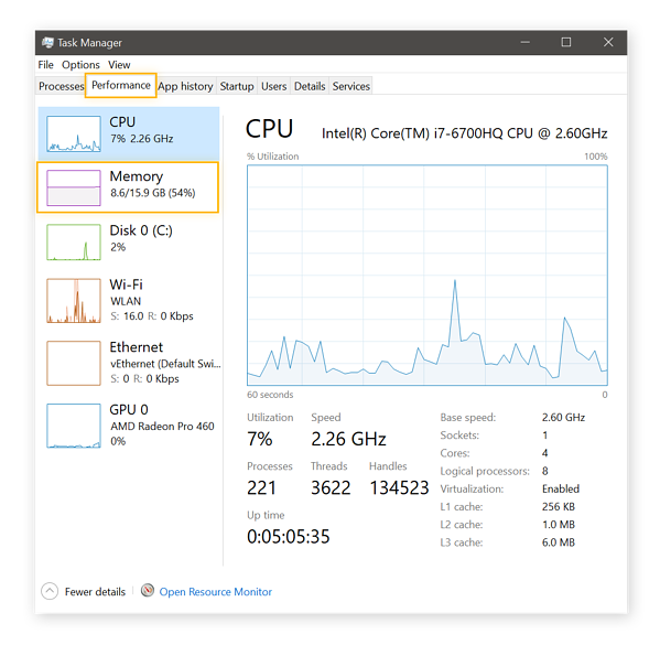 Viewing your CPU performance and settings in Windows Task Manager