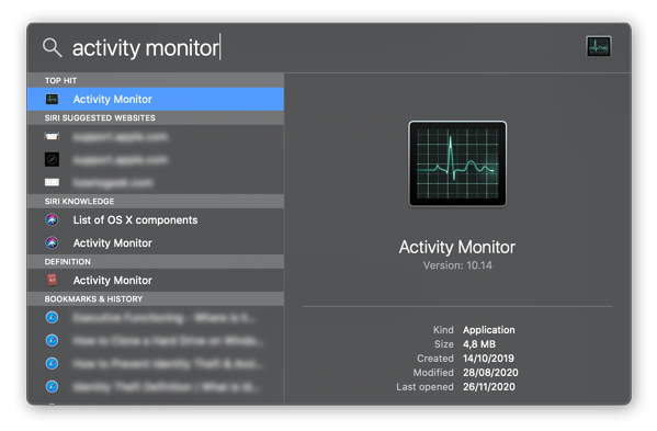 Using Spotlight Search to locate Activity Monitor in macOS Catalina.
