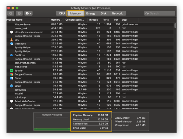 Activity Monitor in macOS Catalina shows you the current processes your computer is doing.