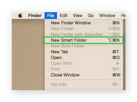 Finder App's File tab expanded and highlighting New Smart Folder.