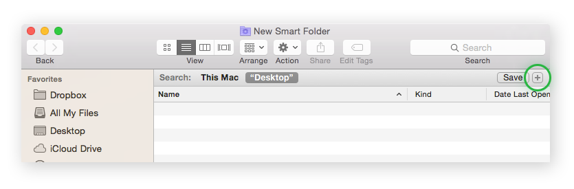 Mac Smart Folder with the plus button highlighted.