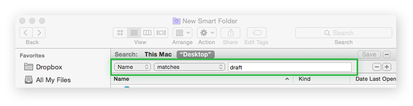A Mac Smart folder indicating the Name filter.