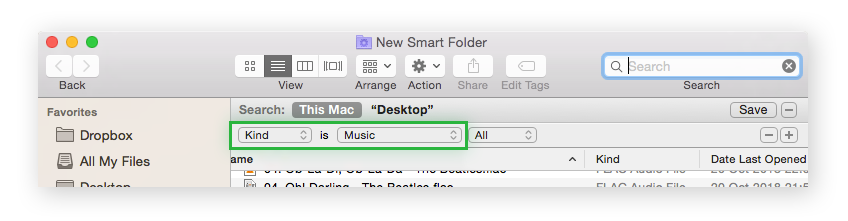 A Mac Smart folder indicating the filter Kind and Music.