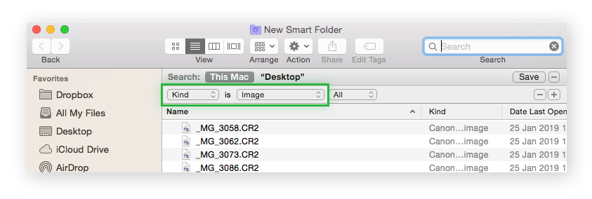 Mac Smart folder with filters set to Kind and Image.
