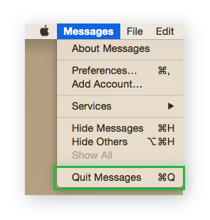 The Messages App, highlighting Quit Messages.