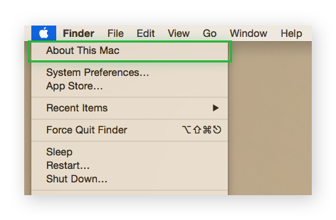 "An Apple menu collapsed and highlighting ""About this Mac"""