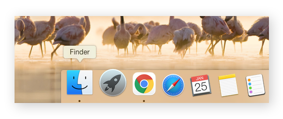 The Finder App icon on a Mac Dock