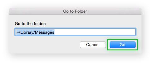 Go to Folder with a command for Library Caches typed in.