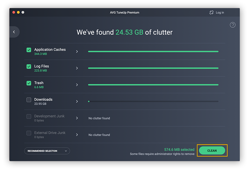 AVG TuneUp automatically identifies all your unnecessary files to make cleaning up your Mac a breeze.