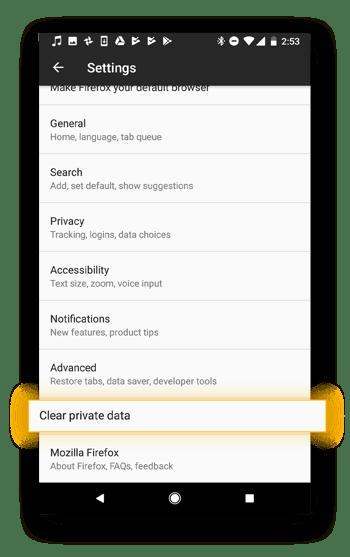 """el """"borrar datos privados"""" le ayudará a borrar todos sus datos personales."""