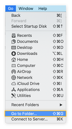 "Go Menu on Mac OS. Highlighting ""Go to FInder"""
