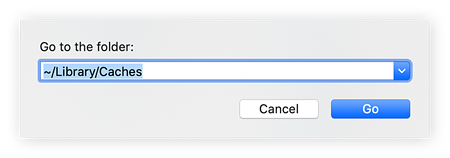 "Go to Folders search bar on Mac. With  ""~/Library/Caches/"" typed in."