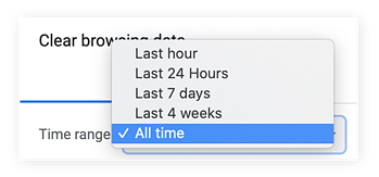 Chrome's clear browsing data option specifying the time range of All Time.