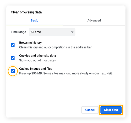 Chrome's Clear Browsing data feature menu with option to clear cached images and files.