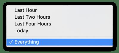 A característica do histórico do Firefox Clear. Selecionando o intervalo de tempo: Tudo.