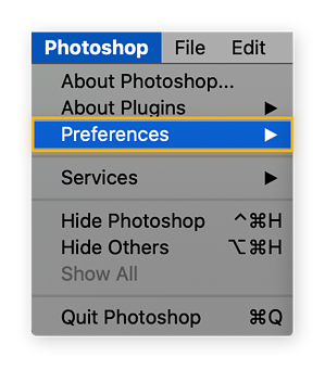 """To change your scratch disk location in Photoshop, look under the Photoshop menu and hover over """"Preferences"""""""