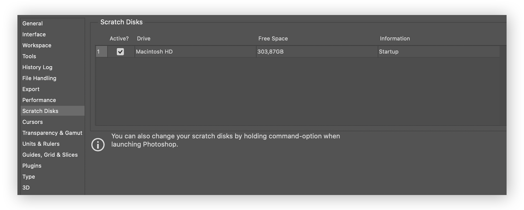 Changing the drive for your Photoshop scratch disk on Mac.