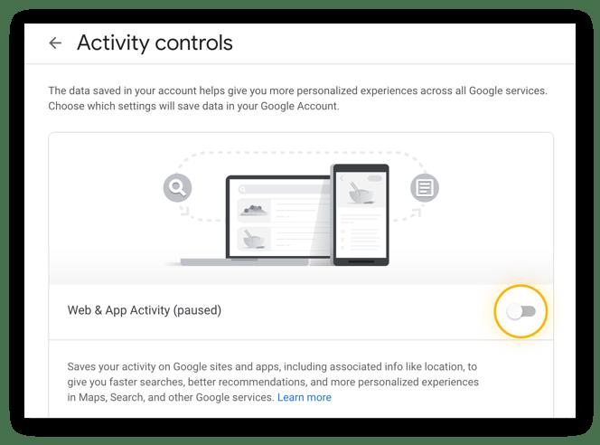 Adjusting activity controls in Google Chrome.