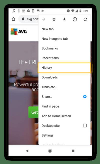 Deleting history on Google Chrome for mobile.