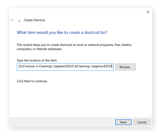 Creating a shortcut for Disk Cleanup in Windows 10