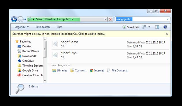 Identifying gigantic files with Windows Explorer for Windows 7