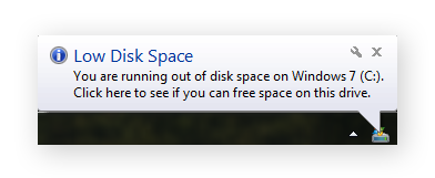 An alert message for low disk space on Windows 7