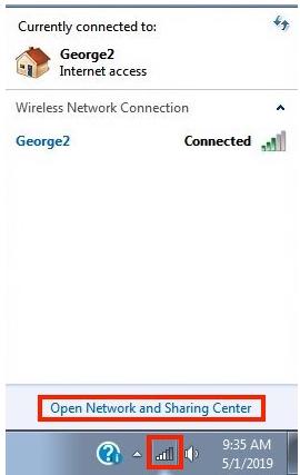 """O primeiro passo para encontrar seu IP local no Windows 7 é clicar em """"Abrir a Central de Rede e Compartilhamento""""."""
