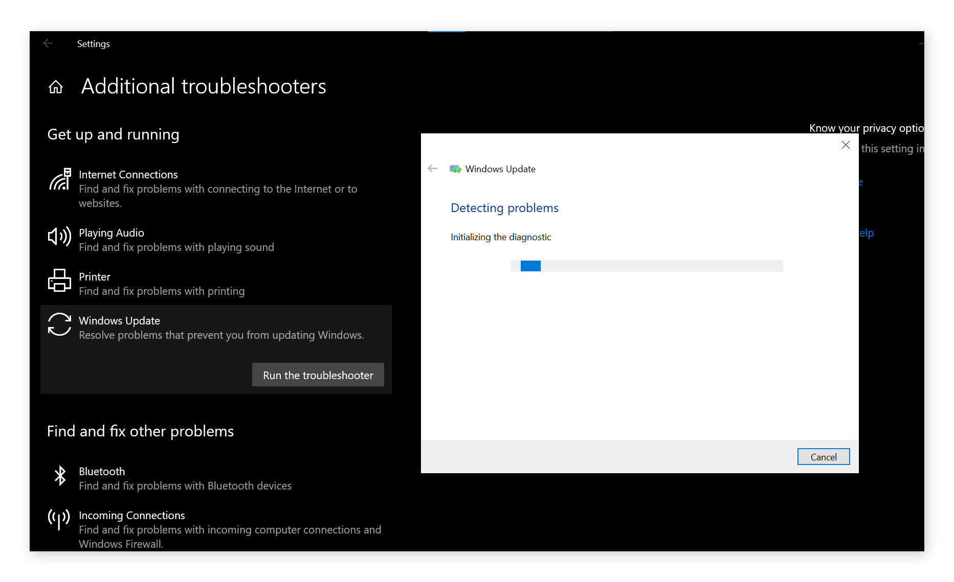 Using Windows Update Troubleshooter to fix high CPU usage.