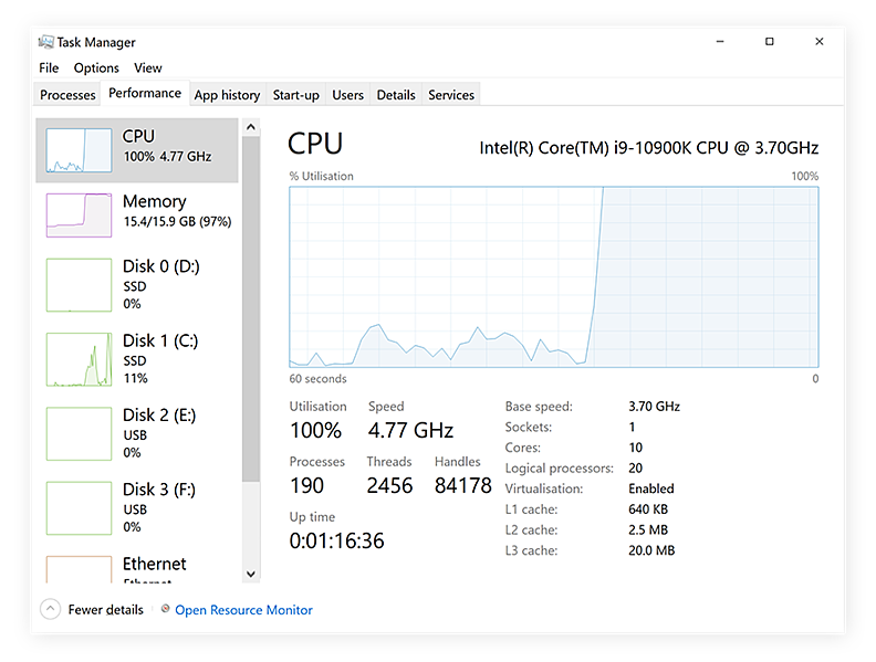 The Windows Task Manager showing high CPU usage on Windows 10