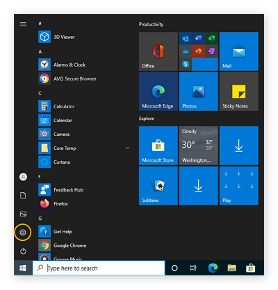 Opening the Settings in Windows 10 from the Start menu