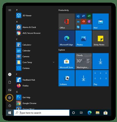 Abrindo as Configurações no Windows 10 no menu Iniciar