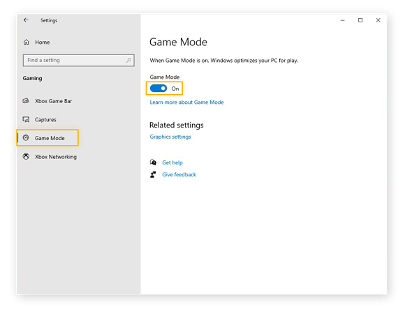 Selecting Game Mode from the Windows 10 menu and confirming that the Game Mode switch is toggled On.