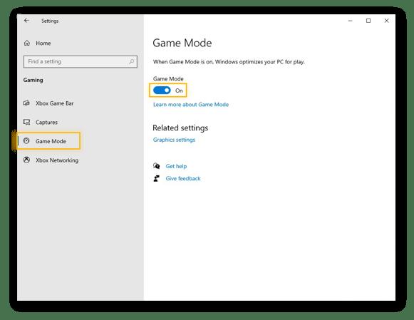 Seleção do Modo Game no menu do Windows 10 e confirmação de que o seletor de Modo Game está Ligado.