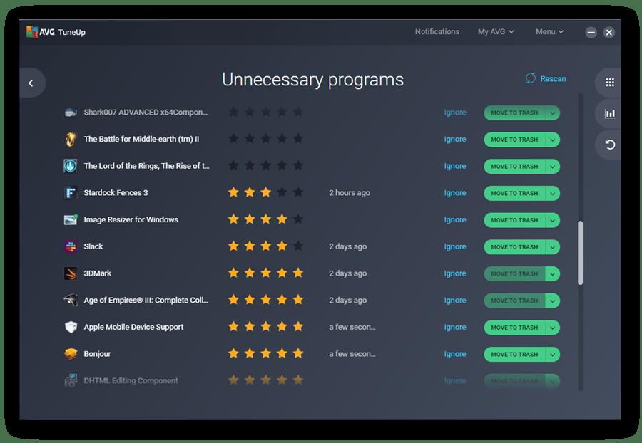 O AVG TuneUp mostrará uma lista de todos os programas desnecessários que ocupam espaço no seu PC.