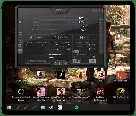 Uma captura de tela do MSI Afterburner mostrando um overclock da GPU no Windows 10