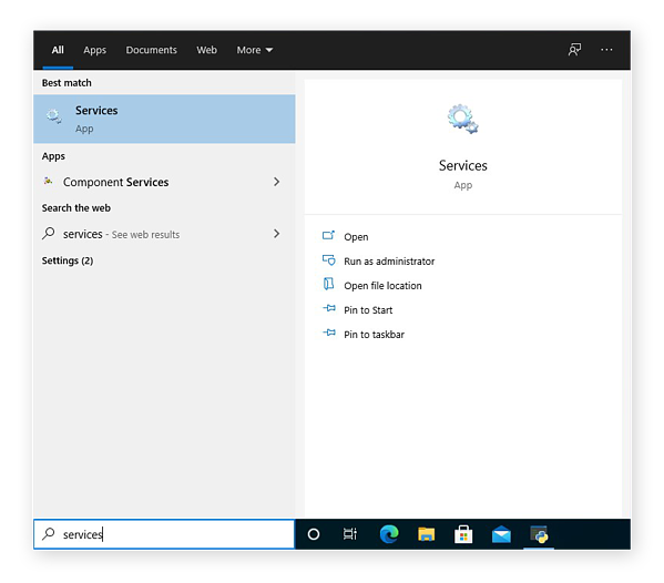 Opening the Services app in Windows 10