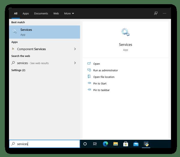 No Windows 10, abra o app Serviços