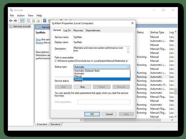 Desabilitando SysMain no Windows 10