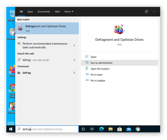 Opening the Defragment and Optimize Drives app in Windows 10