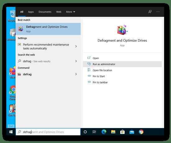 Abrindo o app Desfragmentar e Otimizar Unidades no Windows 10