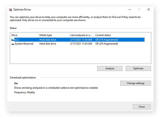 Defragmenting a hard drive in Windows 10