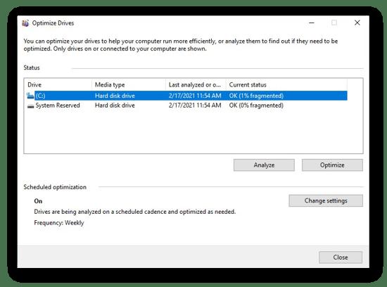 Desfragmentação de um disco rígido no Windows 10